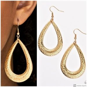 Straight Up Shimmer - Gold Teardrop Hoop Earrings